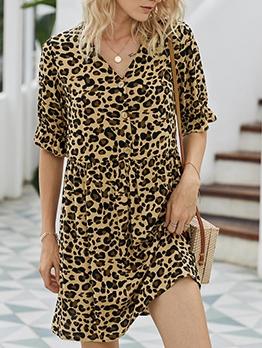 V Neck Half Sleeve Leopard Print Short Dress