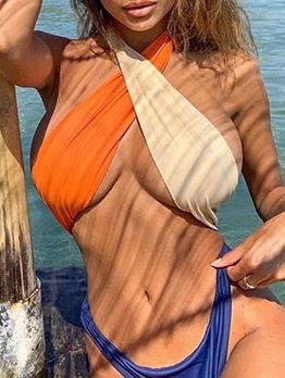 Color Block Sexy One Piece Swimwear