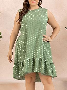 Crew Neck Polka Dots Plus Size Dresses