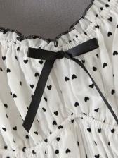 Heart Print Off The Shoulder Dress For Summer