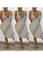 Sexy Deep V Neck Striped Skinny Vest Dress