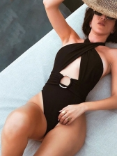 Sexy Cut Out Halter Neck One Piece Bathing Suit