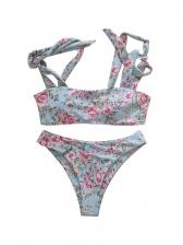 U Neck High Waist Floral Two Piece Swimwear