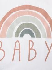 Rainbow Print Short Sleeve Baby Rompers