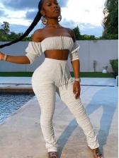 Fashion Off Shoulder Stacked Two Piece Pants Set