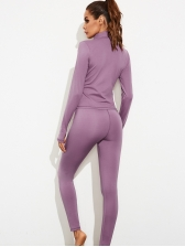 Stand Collar Long Sleeve Yoga Womens Tracksuits