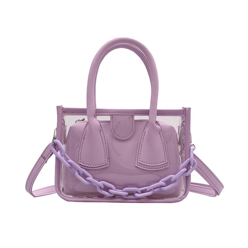 Transparent PVC Thick Chain 2 Piece Shoulder Bags