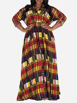 Colorful Plaid Long Sleeve Maxi Shirt Dress