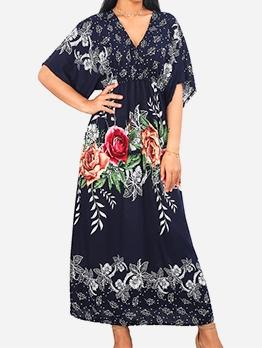 Ankle Length V Neck Flower Printed Maxi Dresses