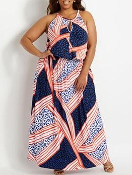 Plus Size Color Block Leopard Print Sleeveless Maxi Dress