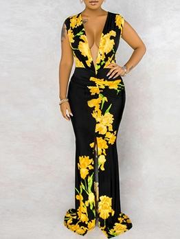 Deep V Neck Flower Sleeveless Floor Length Dress