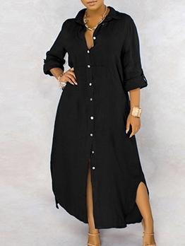 Single-Breasted Solid Long Sleeve Maxi Shirt Dress