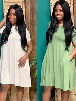 Solid Pocket Short Sleeve Casual Dresses