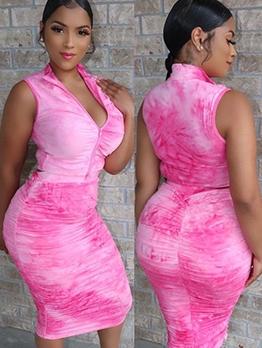 Zipper Up Tie Dye Crop Top And Maxi Skirt Sets