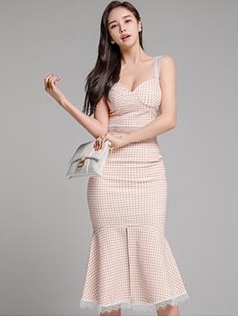 Elegant Lacework Mermaid Plaid 2 Piece Skirt Set