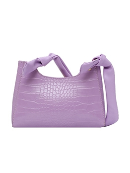 Knot Strap Solid Crocodile Print One Shoulder Bag