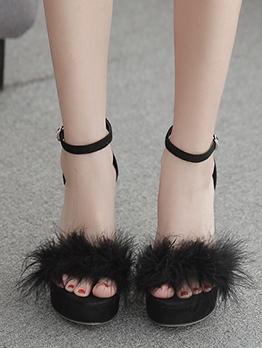 Chunky Heel Faux Fur Patchwork Platform Sandals