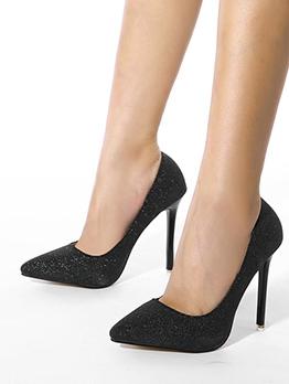 Euro Pointed Toe Black Stiletto Heels