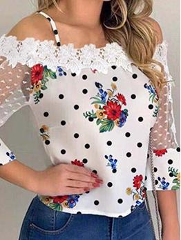 Off Shoulder Gauze Lace Patch Women T Shirt