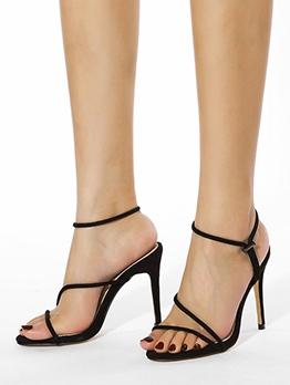 Sexy Solid Stilettos Black Designer Sandals