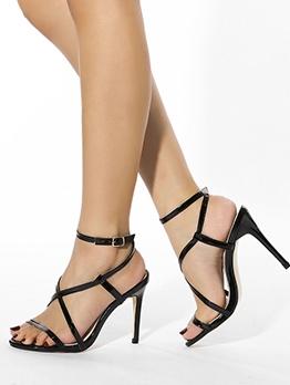 Trendy Solid Heel Black Fashion Sandals
