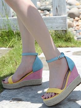 Contrast Color Casual Wedge Heel Sandals