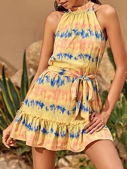 Euro Printed Wrap Sleeveless Dress