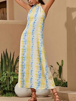 Contrast Color Striped Maxi Dresses