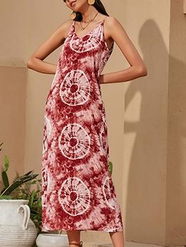 Bohemian Geometric Printed Chiffon Maxi Dresses