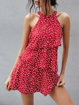 Heart Printed Sleeveless Summer Dresses