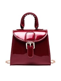 Glossy Pu Trapezoidal Handbags With Detachable Chain