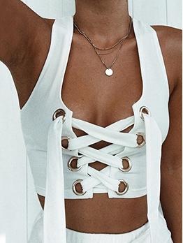 U-neck Front Bandage Halter Camisoles