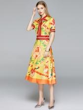 Tie Neck Short Sleeve Vintage A-Line Dress
