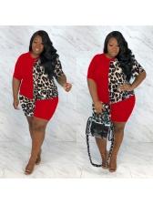Leopard Patch Short Sleeve Plus Size Women Outfits