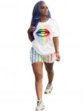 Colorful Print White Two Piece Women Sets
