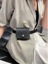 Crocodile Print Solid Color Pu Mini Crossbody Bum Bag