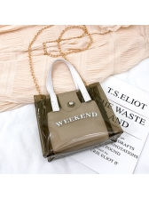 Transparent Jelly PVC Letter Chain Bag With Handle