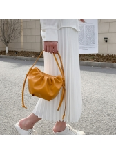 Thin Strap Solid Pleated Pu Simple Crossbody Bags