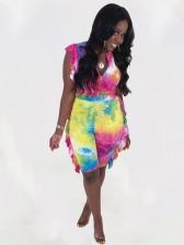 Fashion Ruffled Tie Dye High Waist Two Piece Sets