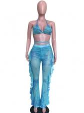 Sexy Tie dye Ruffled Two Piece Pants Set