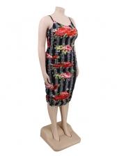 Flower Print Sleeveless Plus Size Dresses
