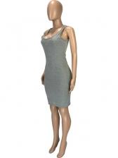 Sexy U Neck Hooded Sleeveless Dress
