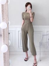 Loose Solid Ladies Two Piece Pants Set