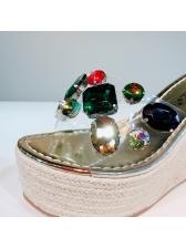 Colorful Rhinestone Slipper Wedges Online