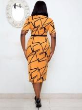 Crew Neck Geometric Printed Short Sleeve Dress