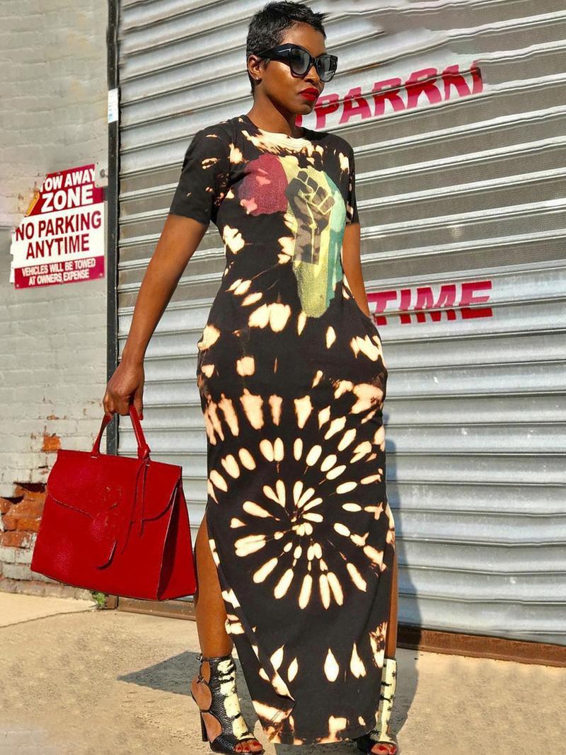 Loose Printed Short Sleeve Maxi Dress
