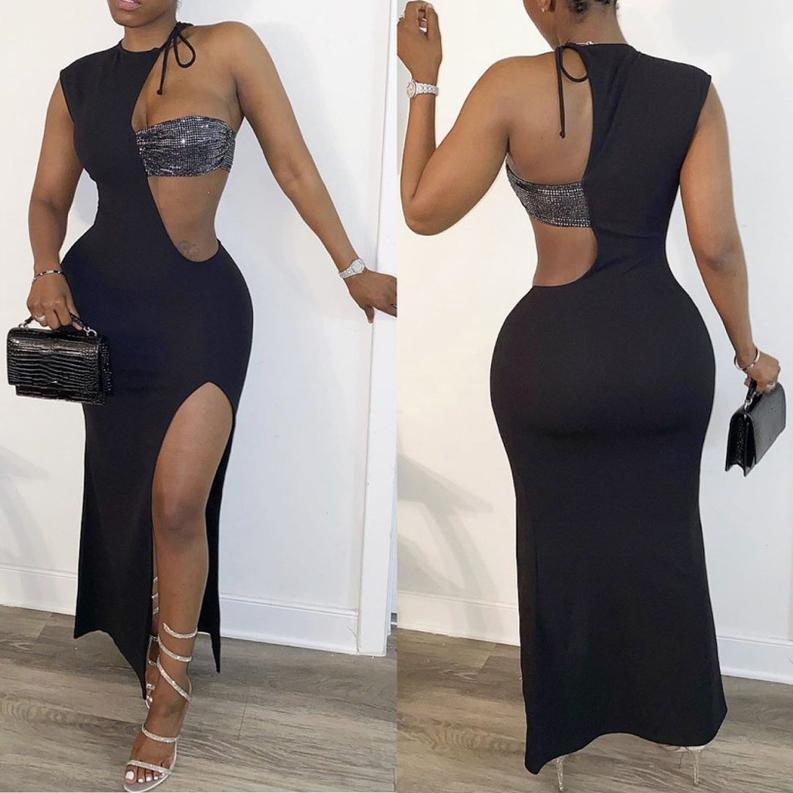 Sexy Patchwork High Slit Maxi Dresses