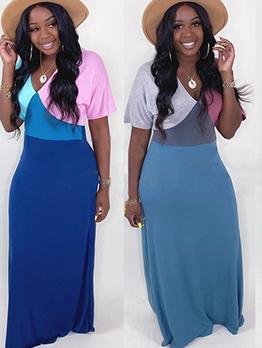 Chic Contrast Color Patchwork Maxi Dresses