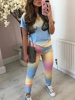 Gradient Color Short Sleeve Two Piece Pants Set