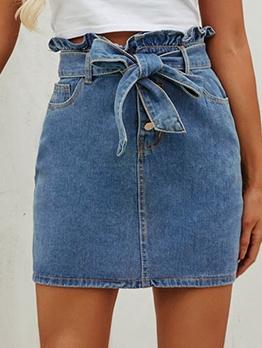 Retro Solid Wrap Denim Skirt